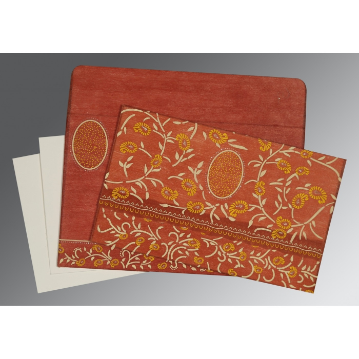 Orange Wooly Floral Themed - Glitter Wedding Invitations : AD-8206G - A2zWeddingCards