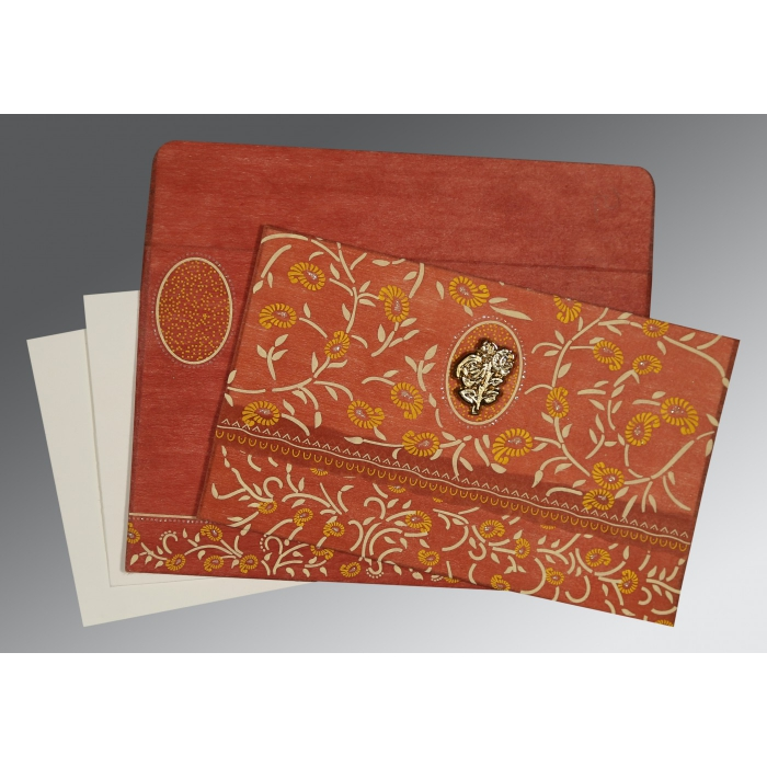 BURNT ORANGE WOOLY FLORAL THEMED - GLITTER WEDDING CARD : AI-8206G - A2zWeddingCards