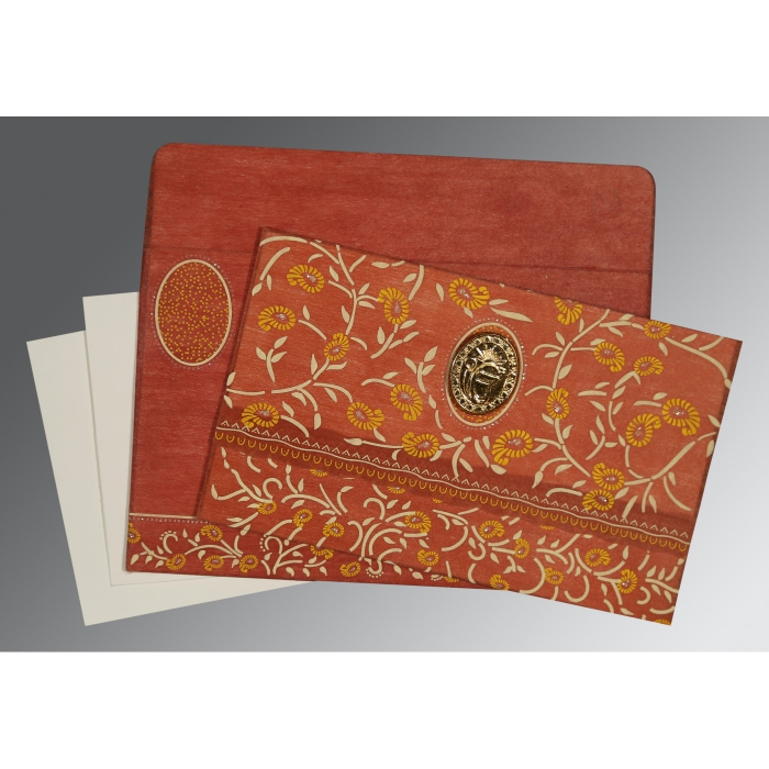 BURNT ORANGE WOOLY FLORAL THEMED - GLITTER WEDDING CARD : AS-8206G - A2zWeddingCards