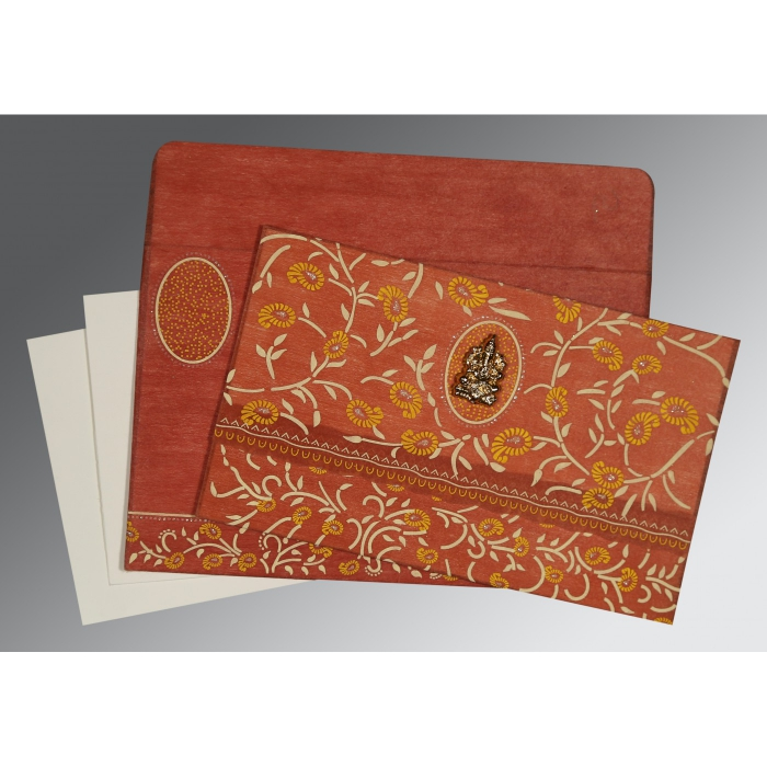 BURNT ORANGE WOOLY FLORAL THEMED - GLITTER WEDDING CARD : AW-8206G - A2zWeddingCards