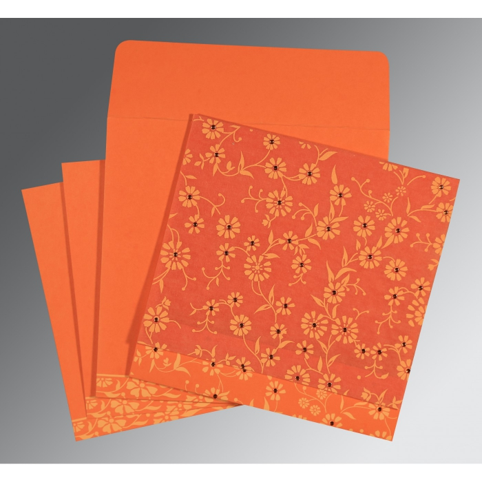 Orange Wooly Floral Themed - Screen Printed Wedding Card : AC-8222L - A2zWeddingCards