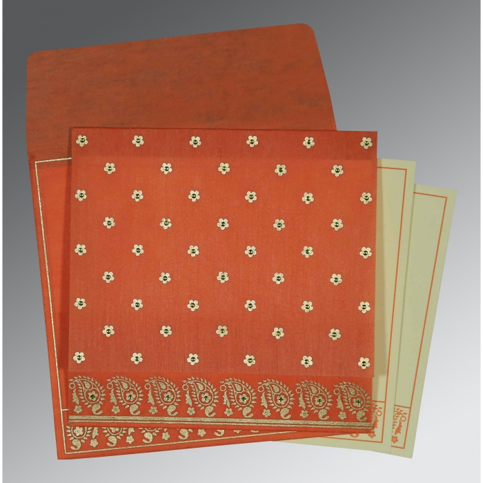 Orange Wooly Floral Themed - Screen Printed Wedding Card : AG-8218E - A2zWeddingCards