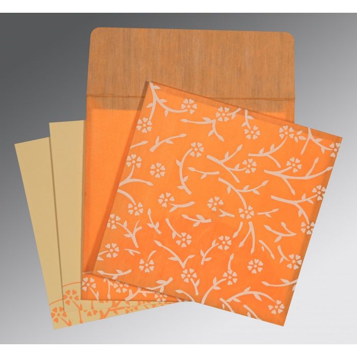 LIGHT ORANGE WOOLY FLORAL THEMED - SCREEN PRINTED WEDDING INVITATION : AI-8216O - A2zWeddingCards