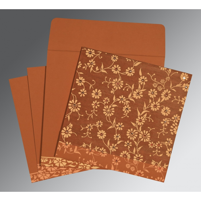 BURNT ORANGE MATTE FLORAL THEMED - SCREEN PRINTED WEDDING CARD : AI-8222H - A2zWeddingCards