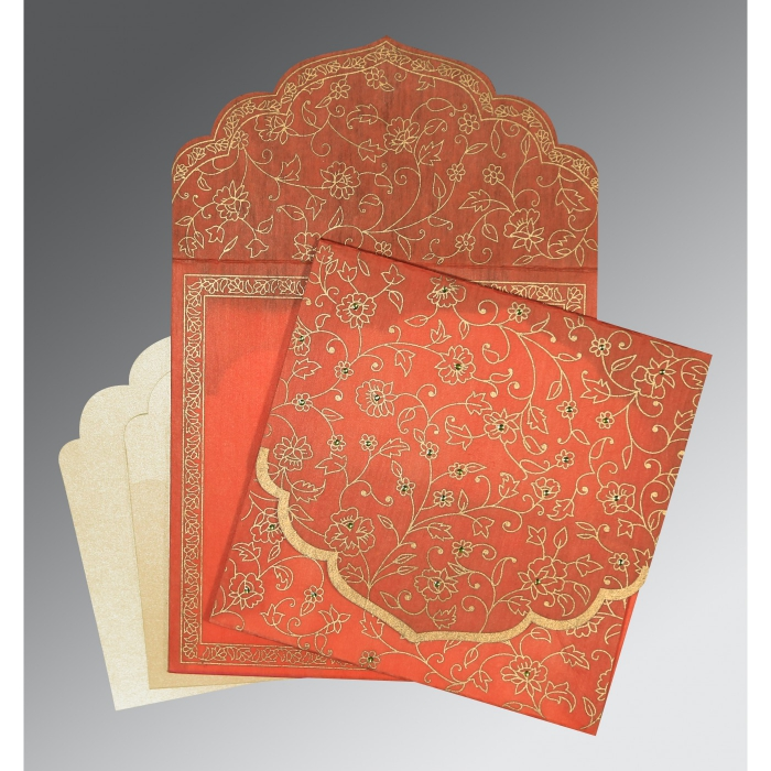 CORAL WOOLY FLORAL THEMED - SCREEN PRINTED WEDDING INVITATION : AIN-8211F - A2zWeddingCards