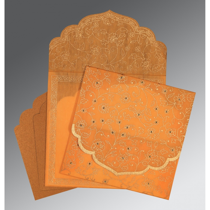 LIGHT ORANGE WOOLY FLORAL THEMED - SCREEN PRINTED WEDDING INVITATION : AIN-8211L - A2zWeddingCards