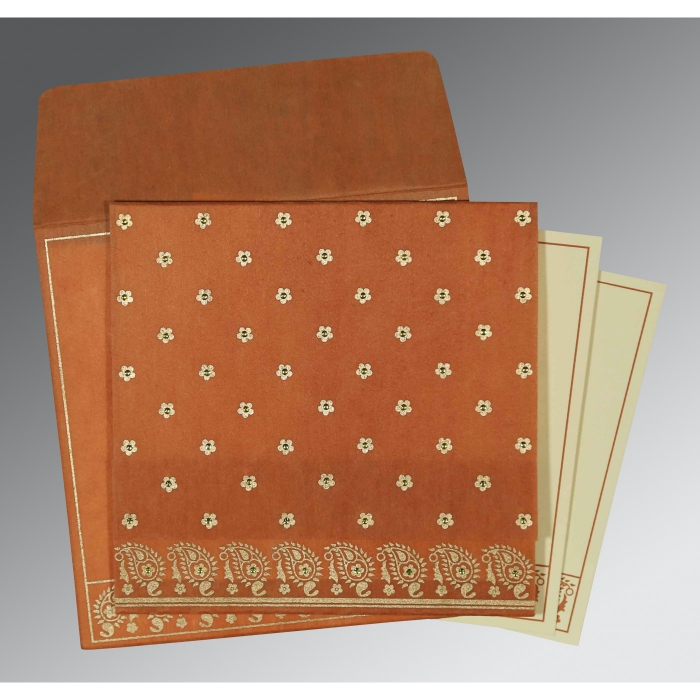 BURNT ORANGE WOOLY FLORAL THEMED - SCREEN PRINTED WEDDING CARD : AS-8218C - A2zWeddingCards