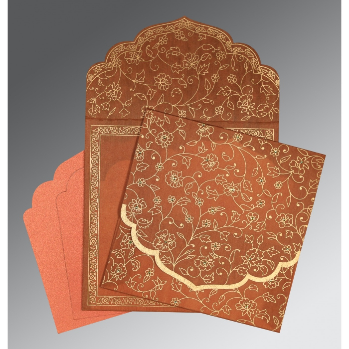 Orange Wooly Floral Themed - Screen Printed Wedding Invitation : ASO-8211H - A2zWeddingCards