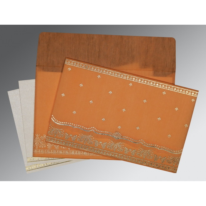 ORANGE WOOLY FOIL STAMPED WEDDING INVITATION : ARU-8241H - A2zWeddingCards