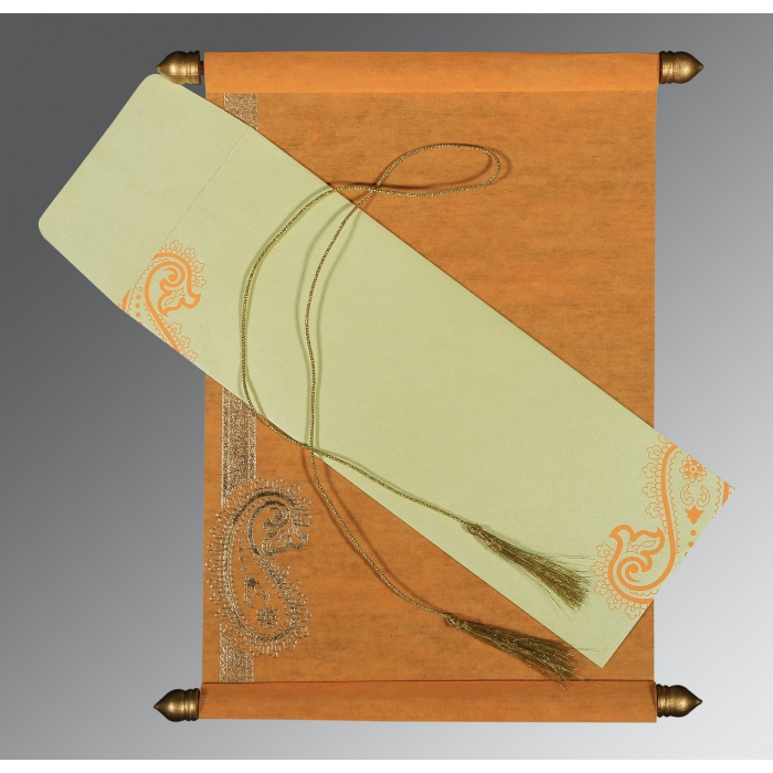 LIGHT ORANGE WOOLY FOIL STAMPED WEDDING CARD : ASC-5015J - A2zWeddingCards