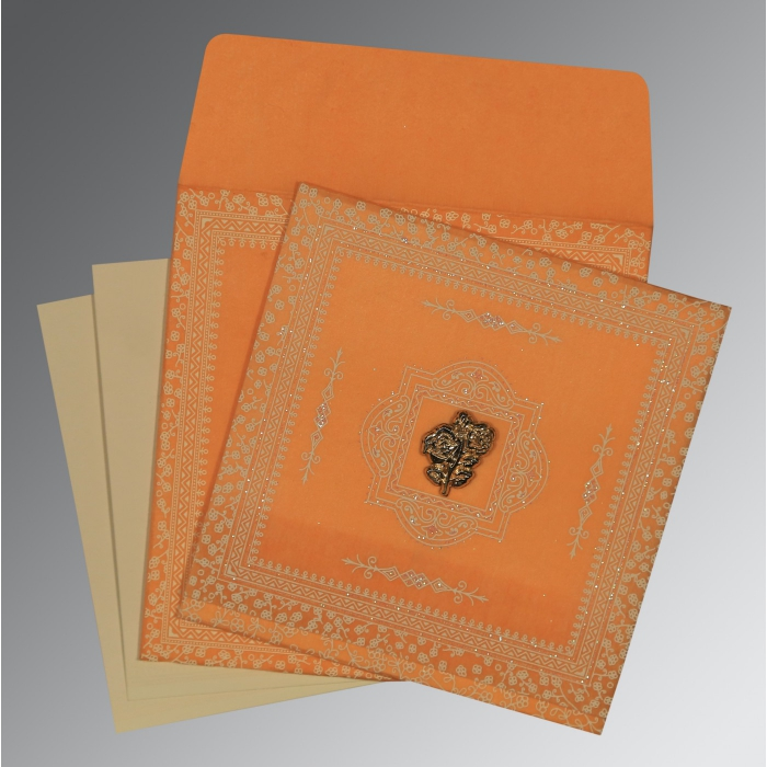 Orange Wooly Glitter Wedding Card : AI-8205H - A2zWeddingCards
