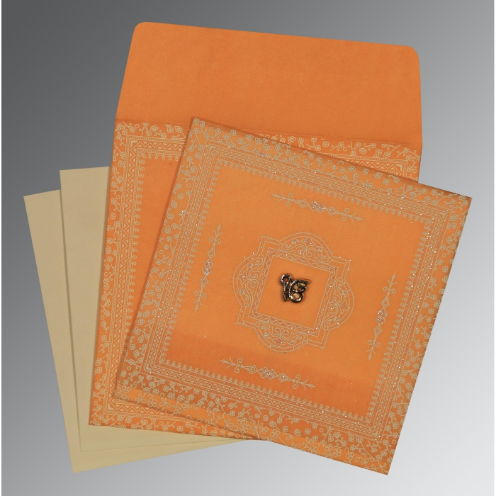 Orange Wooly Glitter Wedding Card : AS-8205H - A2zWeddingCards