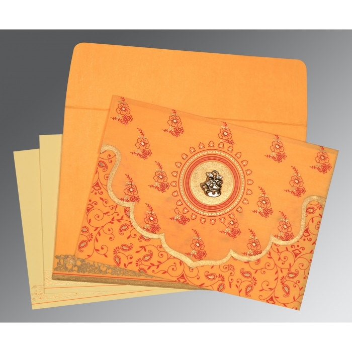 Orange Wooly Screen Printed Wedding Invitation : AC-8207J - A2zWeddingCards
