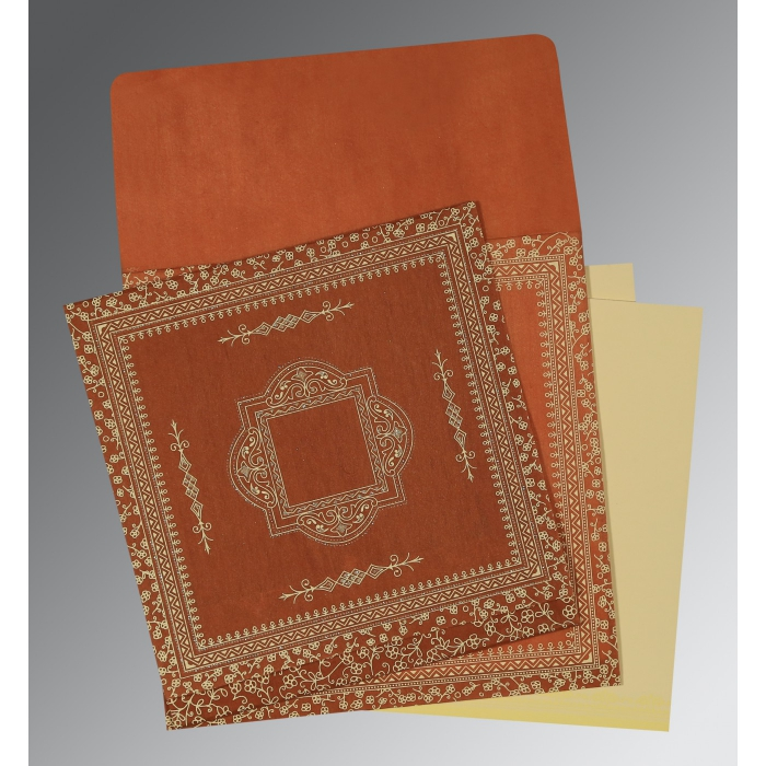 Orange Wooly Screen Printed Wedding Card : AD-1050 - A2zWeddingCards