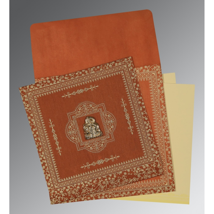 BURNT ORANGE WOOLY SCREEN PRINTED WEDDING CARD : AG-1050 - A2zWeddingCards