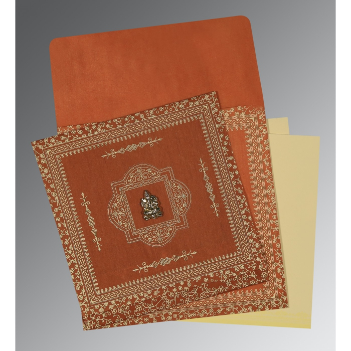 Orange Wooly Screen Printed Wedding Card : AIN-1050 - A2zWeddingCards