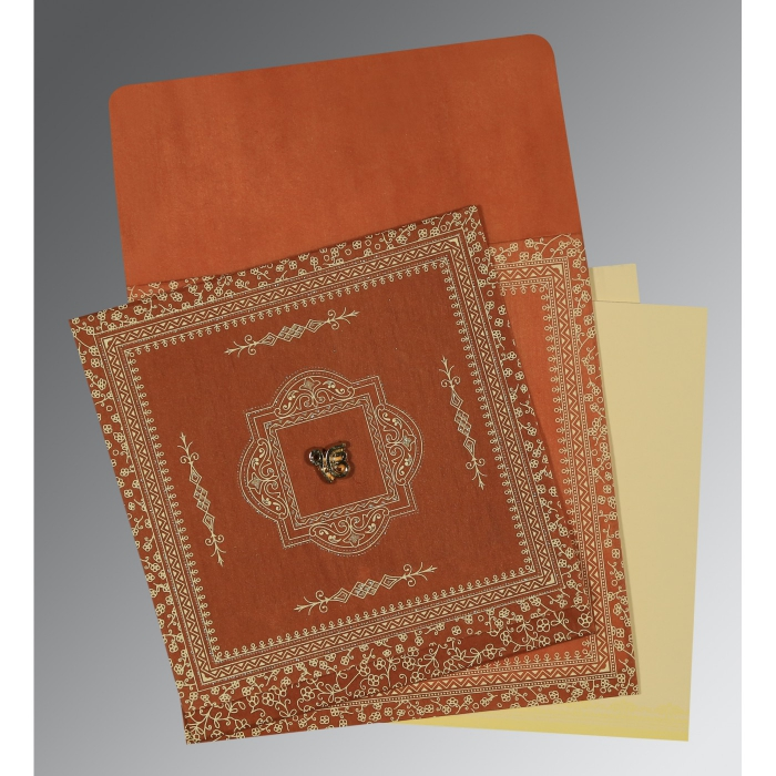 BURNT ORANGE WOOLY SCREEN PRINTED WEDDING CARD : ARU-1050 - A2zWeddingCards