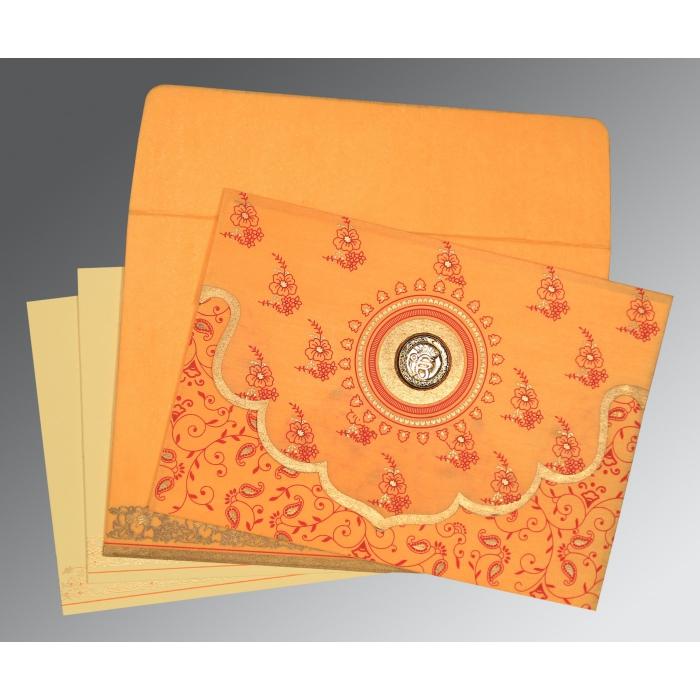 SOFT ORANGE WOOLY SCREEN PRINTED WEDDING INVITATION : ARU-8207J - A2zWeddingCards
