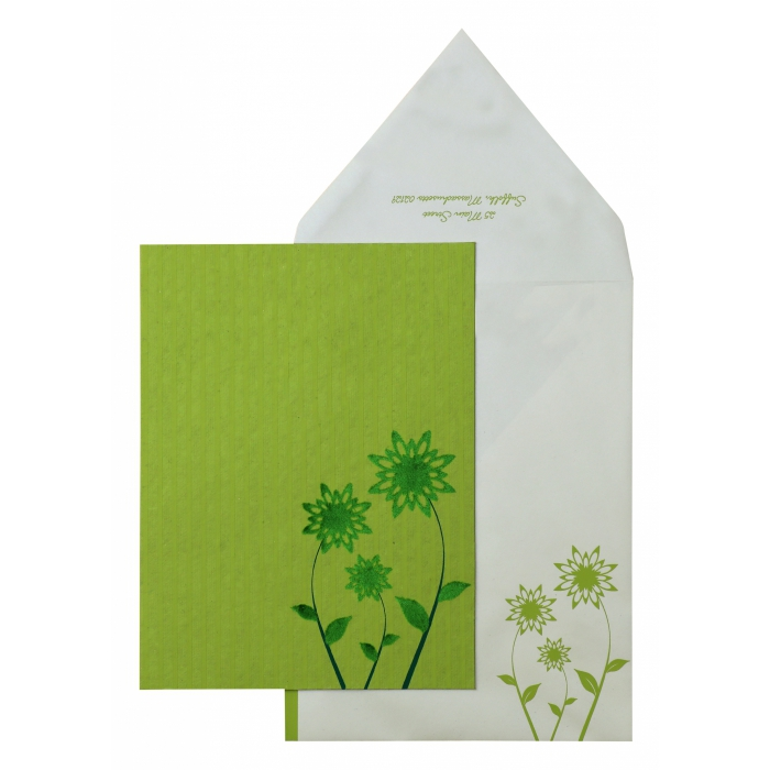Parrot Green Handmade Cotton Floral Themed - Screen Printed Wedding Invitation : APY-888
