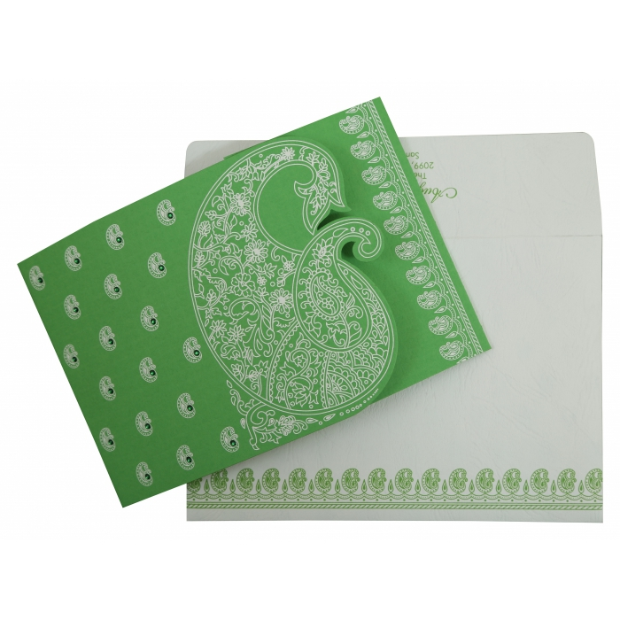 Parrot Green Matte Paisley Themed - Screen Printed Wedding Invitation : AC-807B - A2zWeddingCards