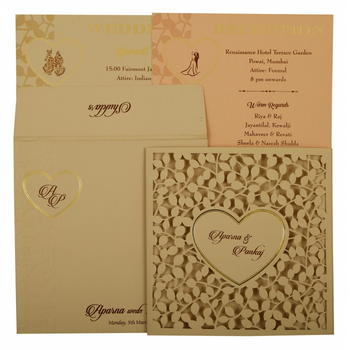 PEACH MATTE FLORAL THEMED - LASER CUT WEDDING INVITATION : AC-1927 - A2zWeddingCards