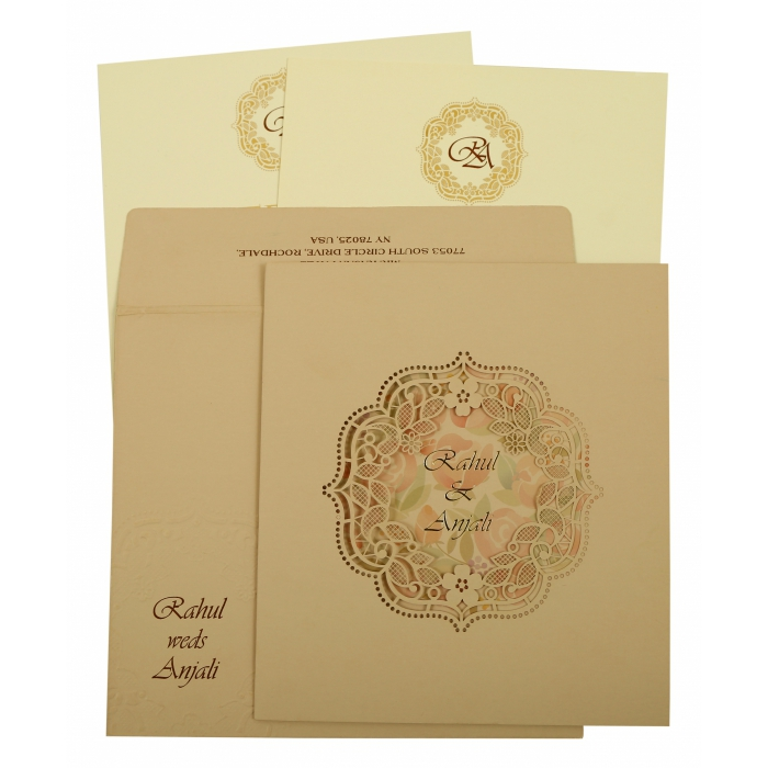 Peach Matte Laser Cut Wedding Invitation : AIN-1857 - A2zWeddingCards