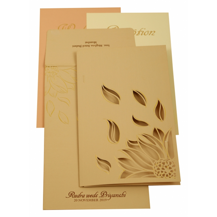 PEACH MATTE LASER CUT WEDDING INVITATION : AIN-1907 - A2zWeddingCards