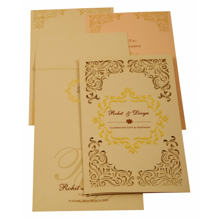 PEACH MATTE LASER CUT WEDDING INVITATION : AIN-1909 - A2zWeddingCards