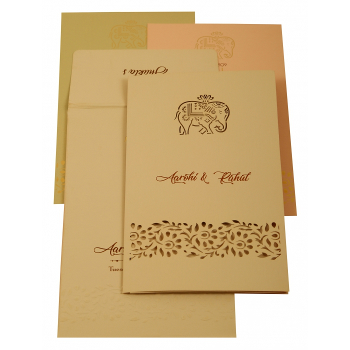 Peach Matte Laser Cut Wedding Invitation : AIN-1923 - A2zWeddingCards