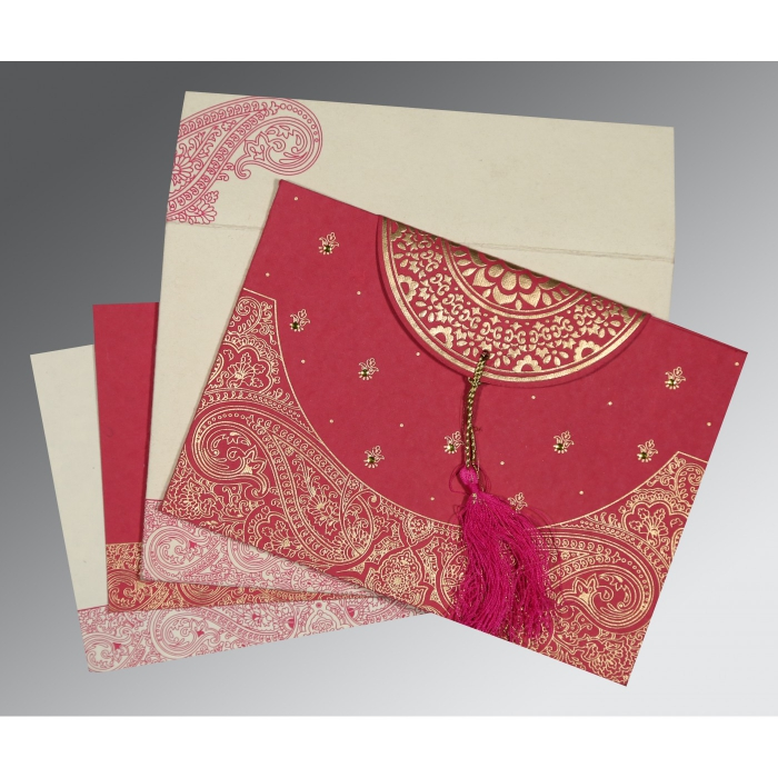 HOT PINK HANDMADE COTTON EMBOSSED WEDDING CARD : AG-8234I - A2zWeddingCards