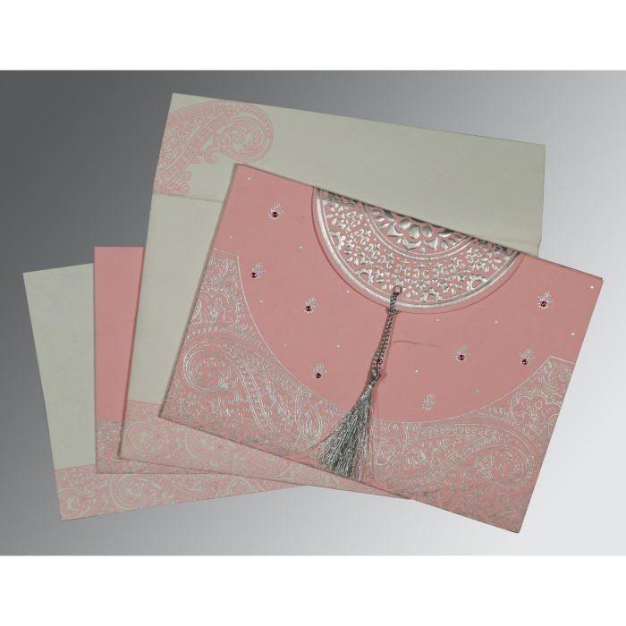 Pink Handmade Cotton Embossed Wedding Card : AS-8234G - A2zWeddingCards