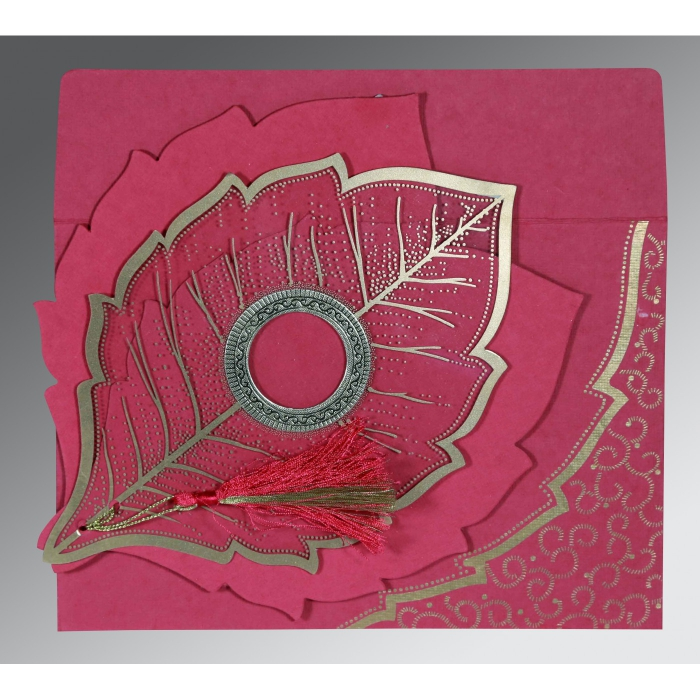 HOT PINK TRANSPARENT HANDMADE COTTON FLORAL THEMED - FOIL STAMPED WEDDING CARD : AIN-8219F - A2zWeddingCards