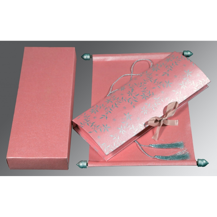 Pink Handmade Shimmer Wedding Invitation : ASC-5007E - A2zWeddingCards