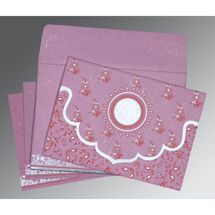 Pink Handmade Silk Screen Printed Wedding Invitation : AD-8207K - A2zWeddingCards