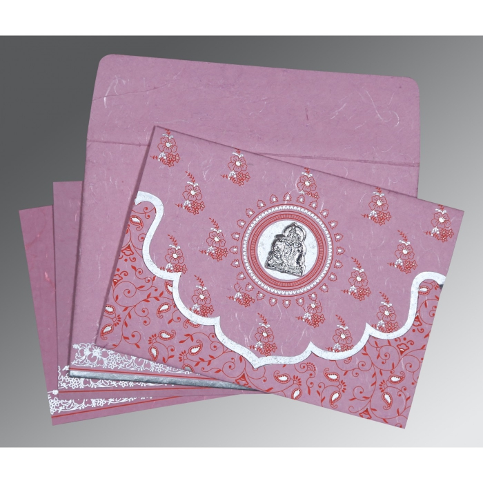 MAUVE PINK HANDMADE SILK SCREEN PRINTED WEDDING INVITATION : AG-8207K - A2zWeddingCards