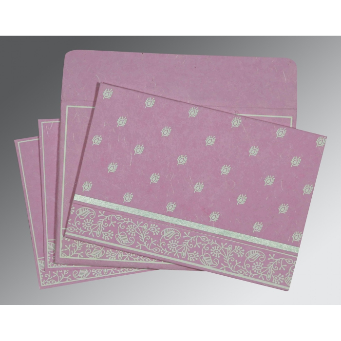 AZALEA PINK HANDMADE SILK SCREEN PRINTED WEDDING CARD : AG-8215J - A2zWeddingCards