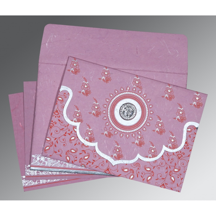 MAUVE PINK HANDMADE SILK SCREEN PRINTED WEDDING INVITATION : ARU-8207K - A2zWeddingCards