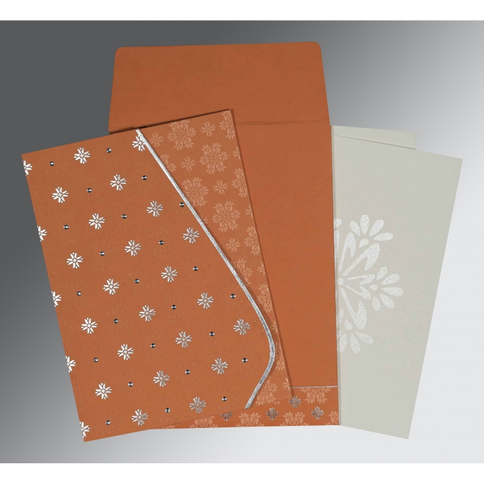 BROWN RUST MATTE FLORAL THEMED - FOIL STAMPED WEDDING INVITATION : AG-8237C - A2zWeddingCards