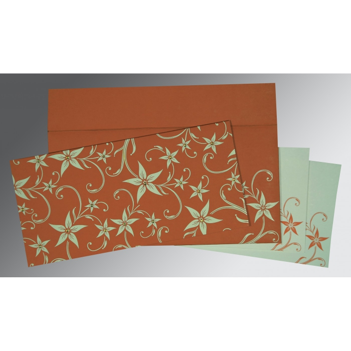 BURNT ORANGE MATTE FLORAL THEMED - SCREEN PRINTED WEDDING INVITATION : ARU-8225G - A2zWeddingCards