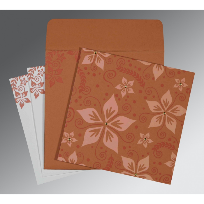 LIGHT BROWN MATTE FLORAL THEMED - SCREEN PRINTED WEDDING INVITATION : ARU-8240H - A2zWeddingCards
