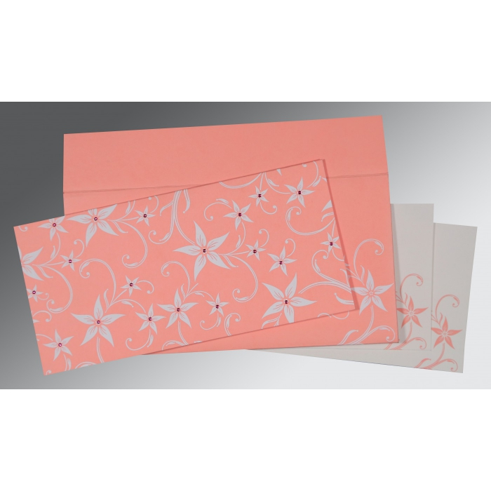 Pink Matte Floral Themed - Screen Printed Wedding Invitation : AS-8225M - A2zWeddingCards