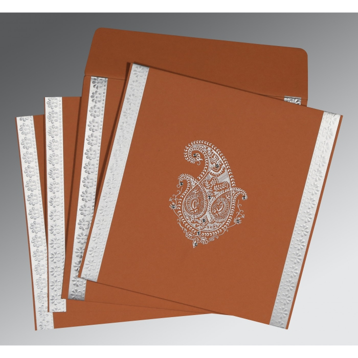 BROWN RUST MATTE EMBOSSED WEDDING INVITATION : AC-8231E - A2zWeddingCards