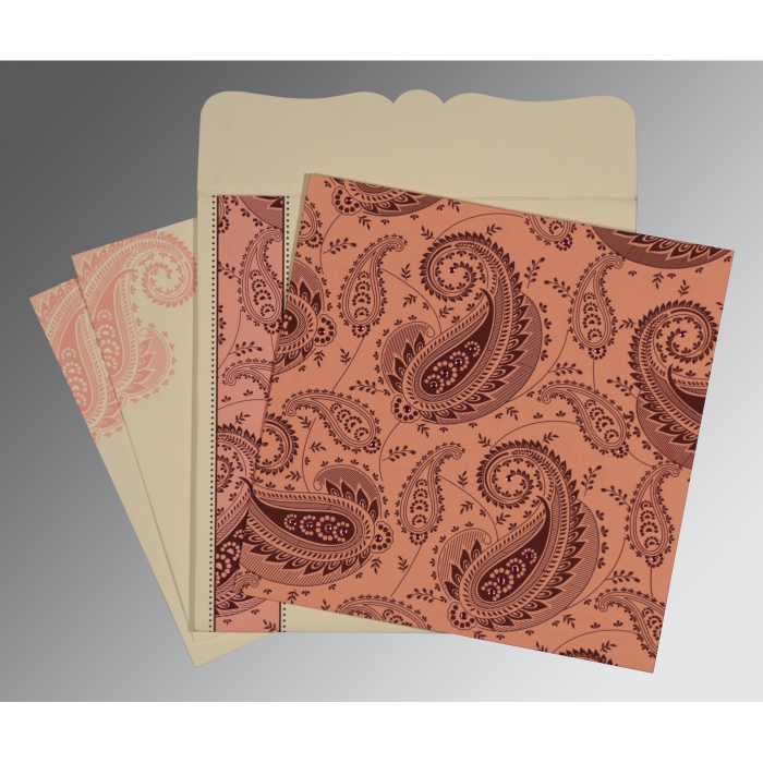 Pink Matte Paisley Themed - Screen Printed Wedding Card : AW-8250F - A2zWeddingCards