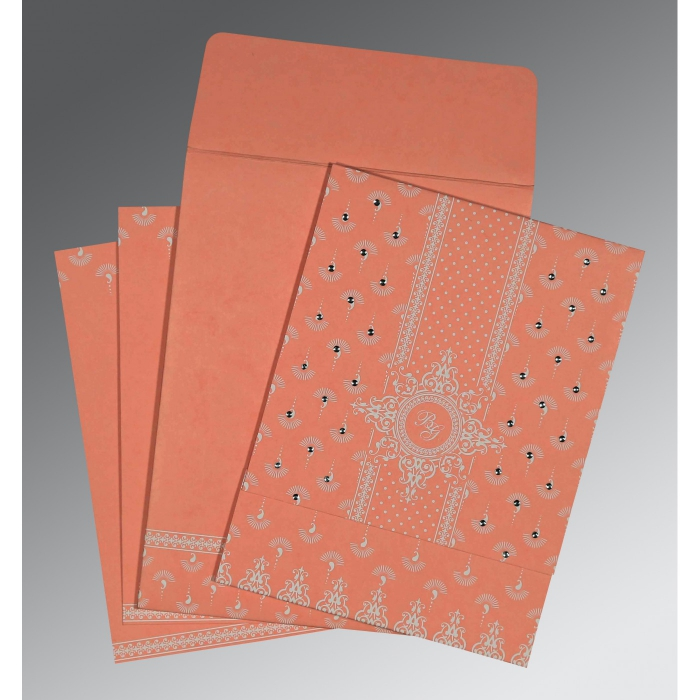 PEACH MATTE SCREEN PRINTED WEDDING INVITATION : AC-8247A - A2zWeddingCards