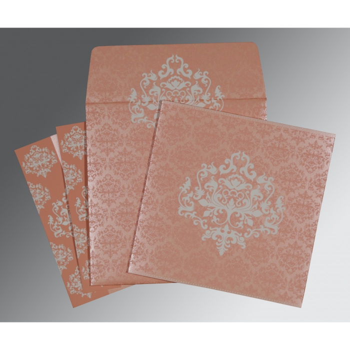 PINK SHIMMERY DAMASK THEMED - SCREEN PRINTED WEDDING CARD : ARU-8254G - A2zWeddingCards