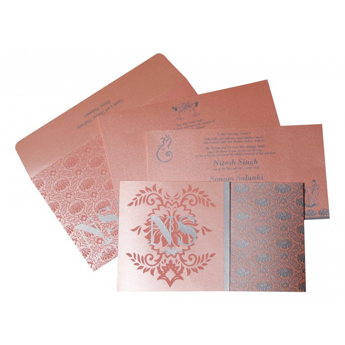 BABY PINK SHIMMERY DAMASK THEMED - SCREEN PRINTED WEDDING INVITATION : ARU-8261D - A2zWeddingCards