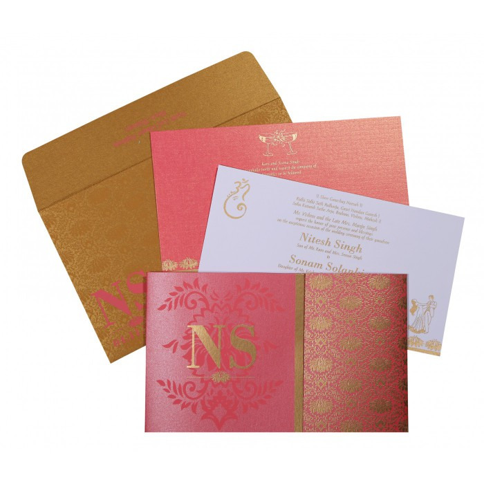 HOT PINK SHIMMERY DAMASK THEMED - SCREEN PRINTED WEDDING INVITATION : AW-8261B - A2zWeddingCards