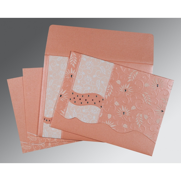 Pink Shimmery Floral Themed - Embossed Wedding Invitations : ARU-8236A - A2zWeddingCards