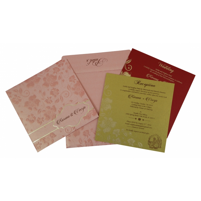 Pink Shimmery Floral Themed - Foil Stamped Wedding Invitation : AI-1793 - A2zWeddingCards