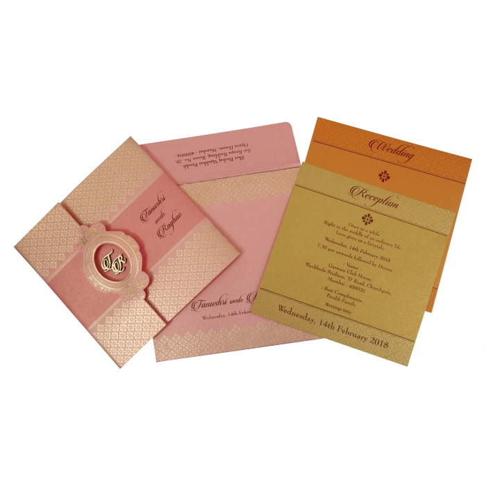 Pink Shimmery Floral Themed - Foil Stamped Wedding Invitation : AIN-1772 - A2zWeddingCards